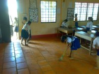 cleaning in classroom
